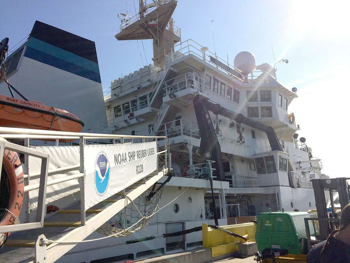 Christopher Tait, a science teacher at New Fairfield High School, sailed aboard NOAA Ship Reuben Lasker to assist scientists on an 18-day survey of sardine populations in the Pacific as part of NOAA's Teacher at Sea Program.