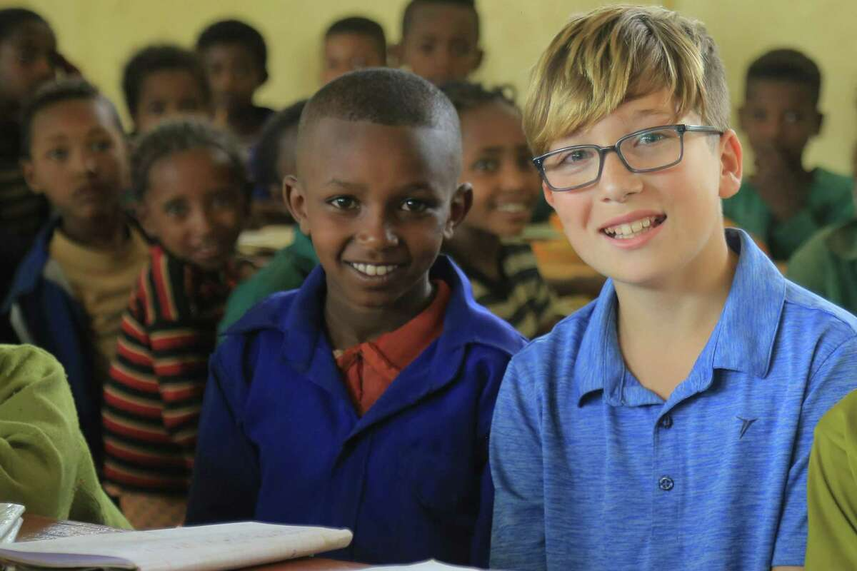 Sasha Kerner of Fairfield visiting Chimdi's classroom in Ethiopia. Shasha's fater, Brad Kerner, 42, works for Fairfield-based Save the Children.