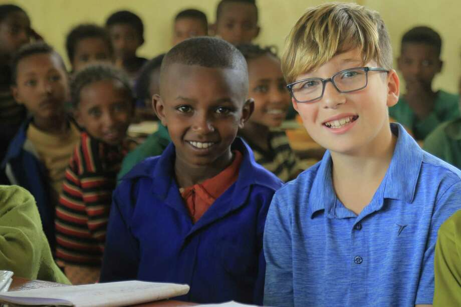 Sasha Kerner of Fairfield visiting Chimdi's classroom in Ethiopia. Shasha's fater, Brad Kerner, 42, works for Fairfield-based Save the Children. Photo: Contributed Photo