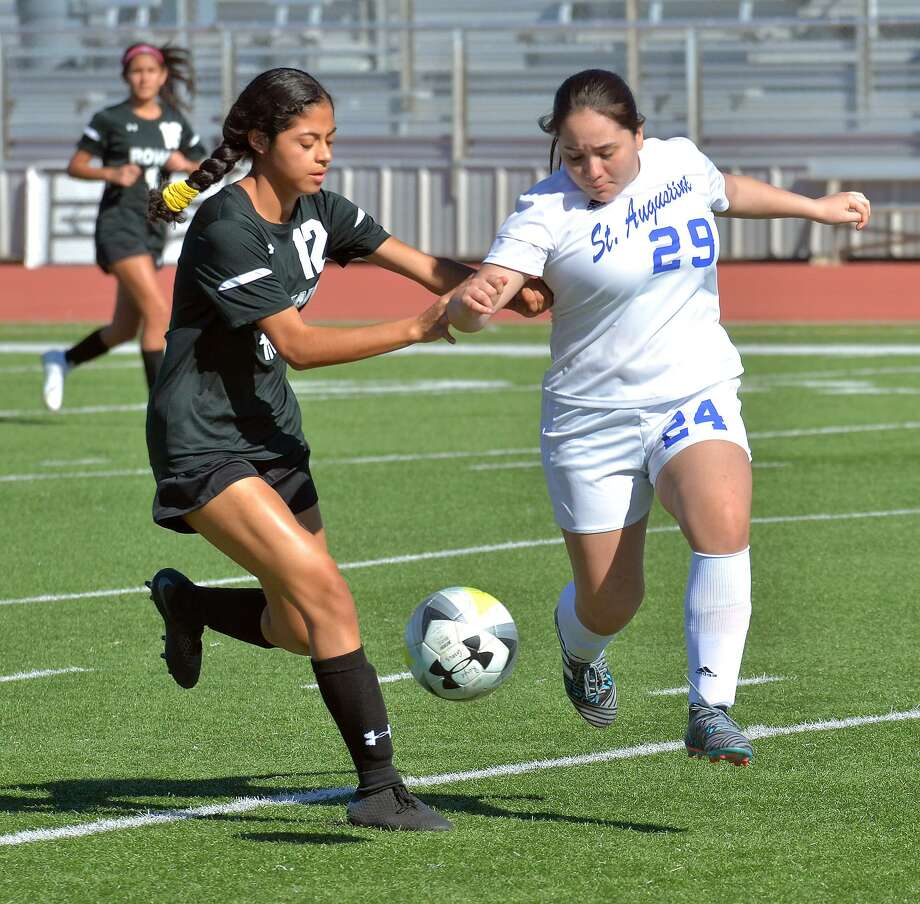 St. Augustine is one of six local teams making up the consolation bracket of the Border Olympics. Rebecca Silva and the Lady Knights beat United's JV 1-0 prior to losing 9-0 against unbeaten Nikki Rowe. Photo: Cuate Santos /Laredo Morning Times / Laredo Morning Times