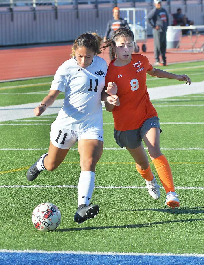 Jannie Espinoza had a hat trick Thursday leading United South to a 5-0 victory over C.C. Miller. Photo: Cuate Santos /Laredo Morning Times File / Laredo Morning Times
