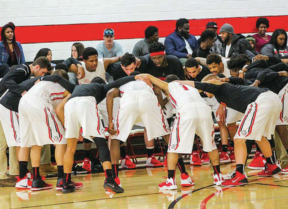 Blackburn college players get fire up in a pregame huddle. The Beavers feature five international players on their roster this season. Photo: Telegraph File Photo