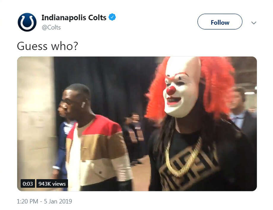 PHOTOS: A look at the Colts' win in Houston in December Indianapolis Colts receiver T.Y. Hilton showed up to NRG Stadium wearing a clown mask before the playoff game against the Houston Texans on Saturday, Jan. 5, 2019. Photo: Indianapolis Colts