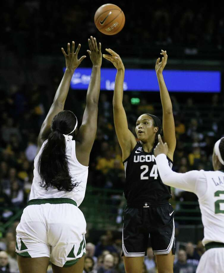 UConn forward Napheesa Collier (24) shoots over Baylor center Kalani Brown on Thursday. Photo: Ray Carlin / Associated Press / Copyright 2019 The Associated Press. All rights reserved.