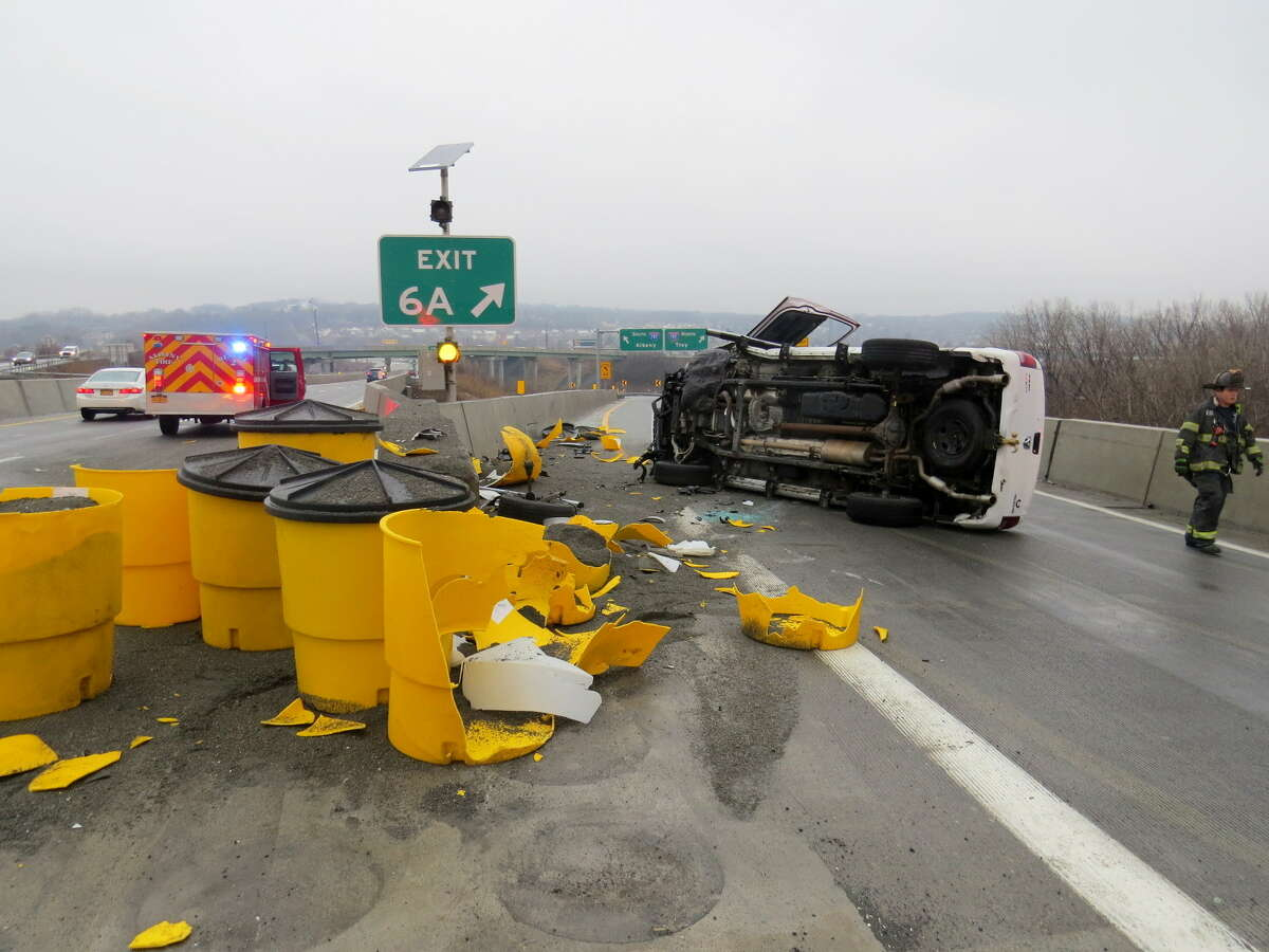 Emergency officials responded to the scene of a rollover on Interstate-90 near Exit 6A in Albany, N.Y. on Saturday, Jan. 5, 2019. (Tom Heffernan Sr / Special to the Times Union)