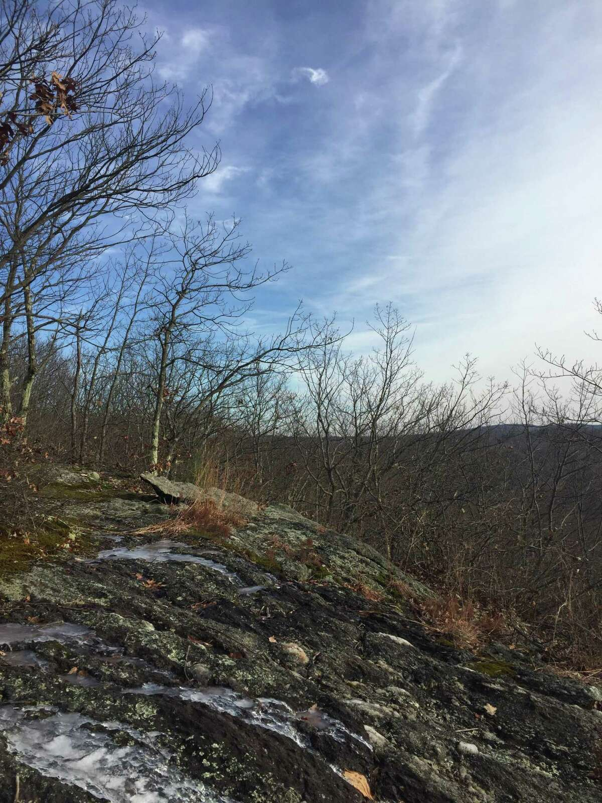 The view from an icy ledge on the Beacon Cap Trail.