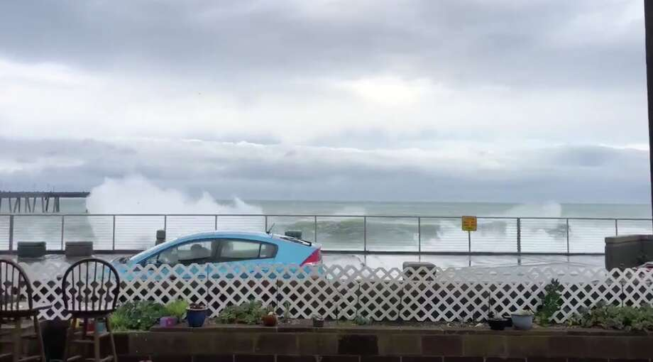 Waves over take the seawall and promenade in Pacifica. Photo: Courtesy Of Savannah Peterson