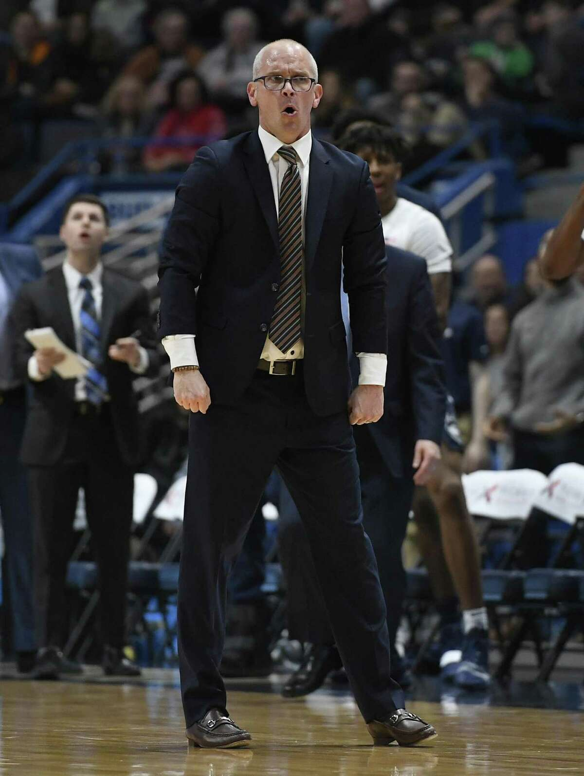 UConn coach Dan Hurley reacts toward an official during the first half on Saturday.