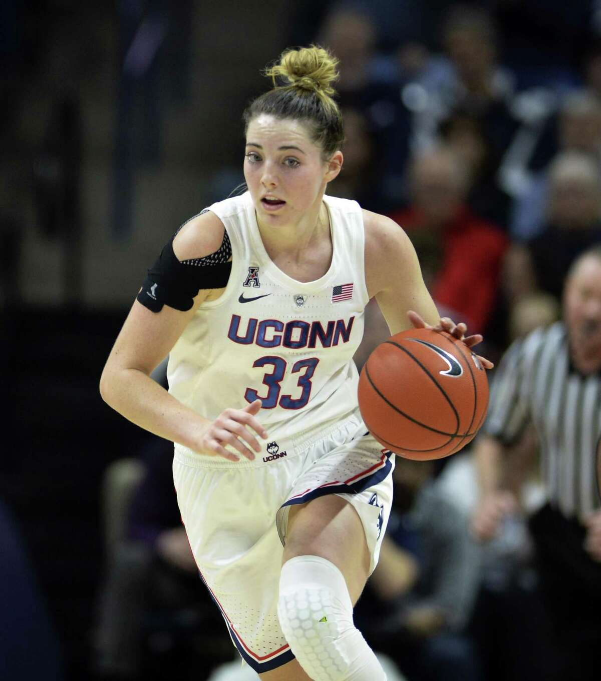 UConn's Katie Lou Samuelson drives down court against Ohio State on Nov. 11.