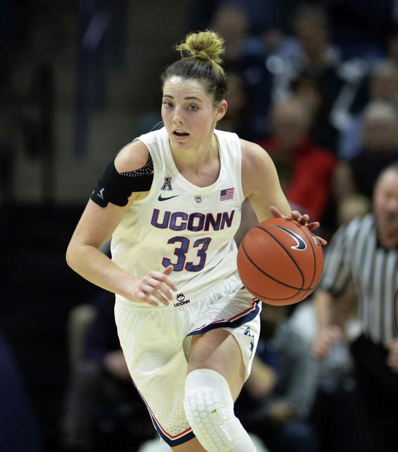 UConn's Katie Lou Samuelson drives down court against Ohio State on Nov. 11. Photo: Stephen Dunn / Associated Press / Copyright 2018 The Associated Press. All rights reserved