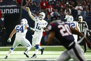 Indianapolis Colts quarterback Andrew Luck (12) throws downfield during the first quarter of an NFL first round playoff game at NRG Stadium, Saturday, Jan. 5, 2019, in Houston.