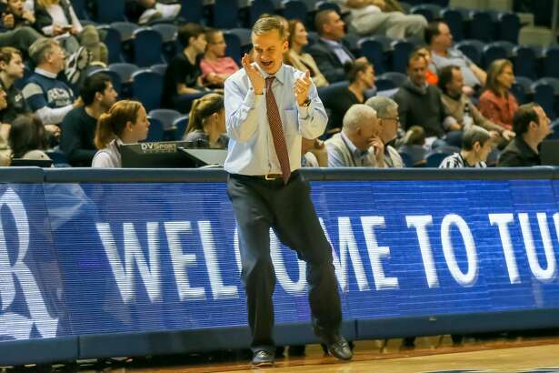 HOUSTON, TX - JANUARY 04: Rice Owls head coach Scott Pera claps in hands with joy during the basketball game between the Old Dominion Monarchs and Rice Owls on January 4, 2018 at Tudor Fieldhouse in Houston, Texas. (Photo by Leslie Plaza Johnson/Icon Sportswire via Getty Images)