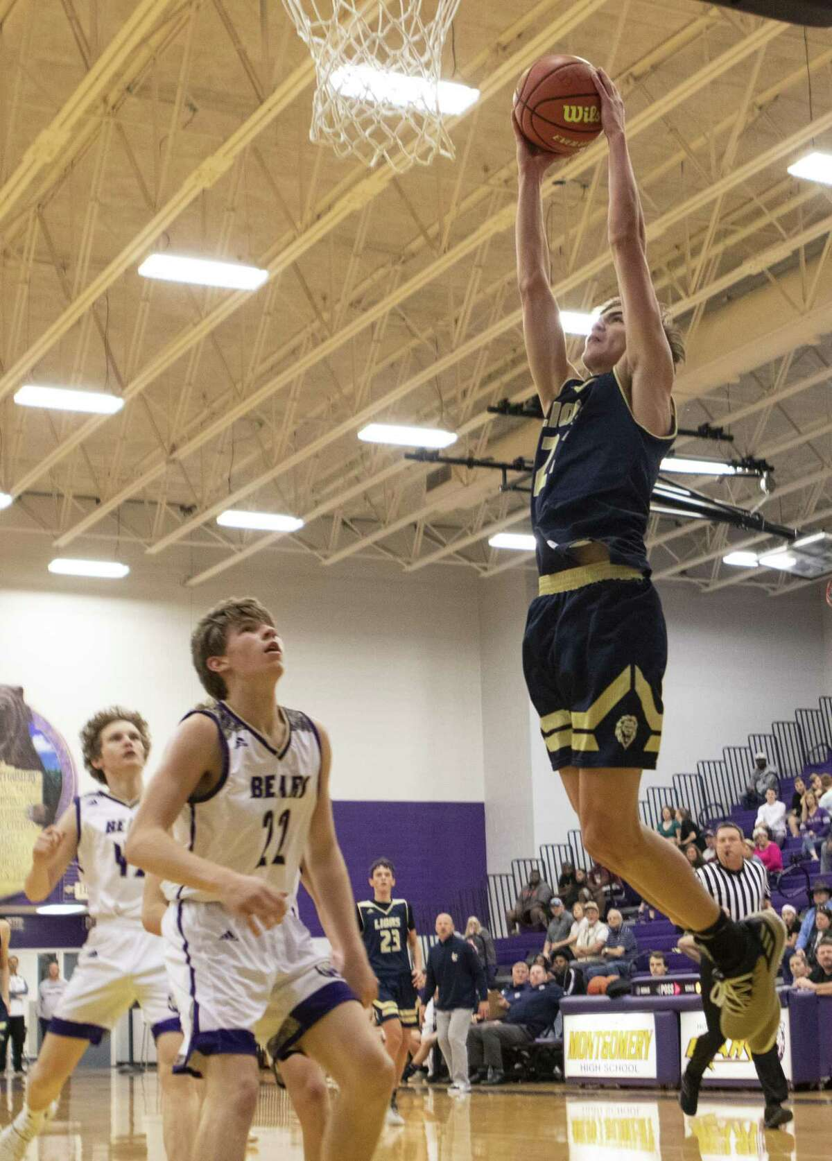 Lake Creek junior Noah Cantu jumps for a two-handed dunk during a District 20-5A high school basketball game Saturday, Jan. 5, 2019 at Montgomery High School in Montgomery.
