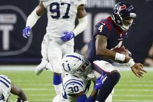 Houston Texans quarterback Deshaun Watson (4) runs during the fourth quarter of an NFL first round playoff game at NRG Stadium, Saturday, Jan. 5, 2019, in Houston.