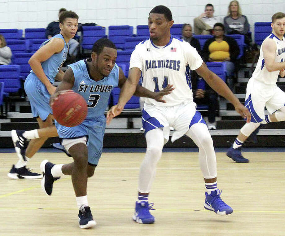 Robyion Hughes of St. Louis Community College (3) brings the ball upcourt against LCCC's Adrian Williams Saturday at the River Bend Arena. LCCC won 71-67. Photo: Pete Hayes | The Telegraph