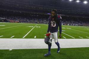 Houston Texans wide receiver DeAndre Hopkins (10) walks off the field after the Texans loss to the Indianapolis Colts in an NFL first round playoff game at NRG Stadium, Saturday, Jan. 5, 2019, in Houston.