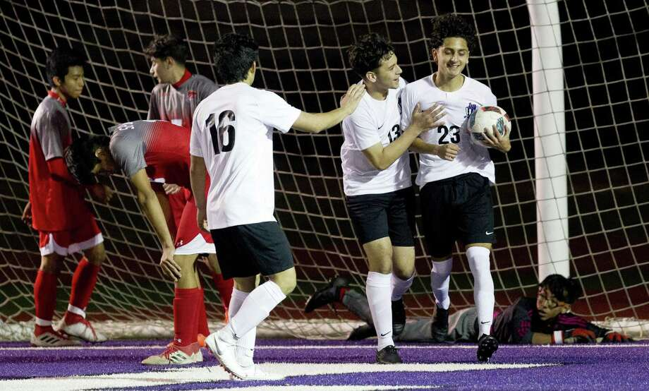 Willis' Ramiro Andrade (13) reacts after a goal by teammate Andy Reyes (23) of Willis in the second period of a high school soccer match during the Kat Cup at Berton A. Yates Stadium, Saturday, Jan. 5, 2019, in Willis. Photo: Jason Fochtman, Houston Chronicle / Staff Photographer / © 2018 Houston Chronicle