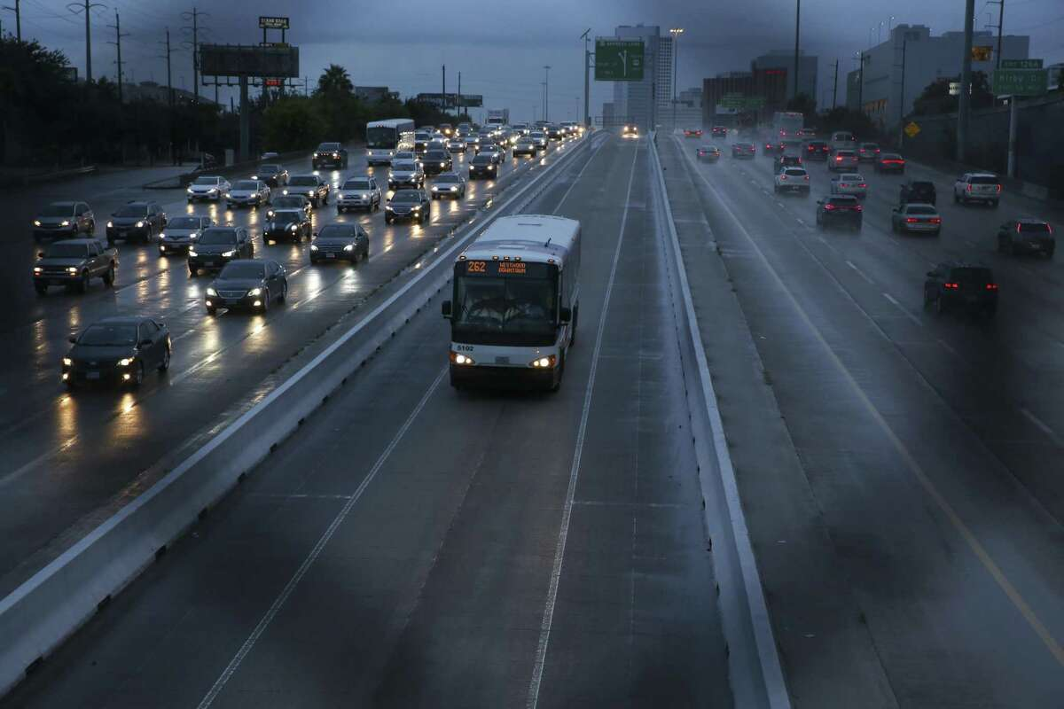 Traffic on U.S. 59 northbound heading toward downtown in the rain on Wednesday, Sept. 26, 2018, in Houston.