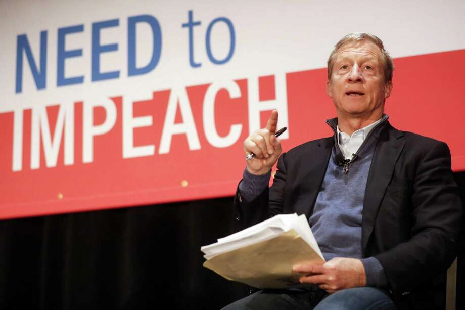 "In this file photo, political activist Tom Steyer speaks during the ""Need to Impeach"" town hall event at the Clifton Cultural Arts Center, Friday, March 16, 2018. Photo: John Minchillo, STF / Associated Press / AP"