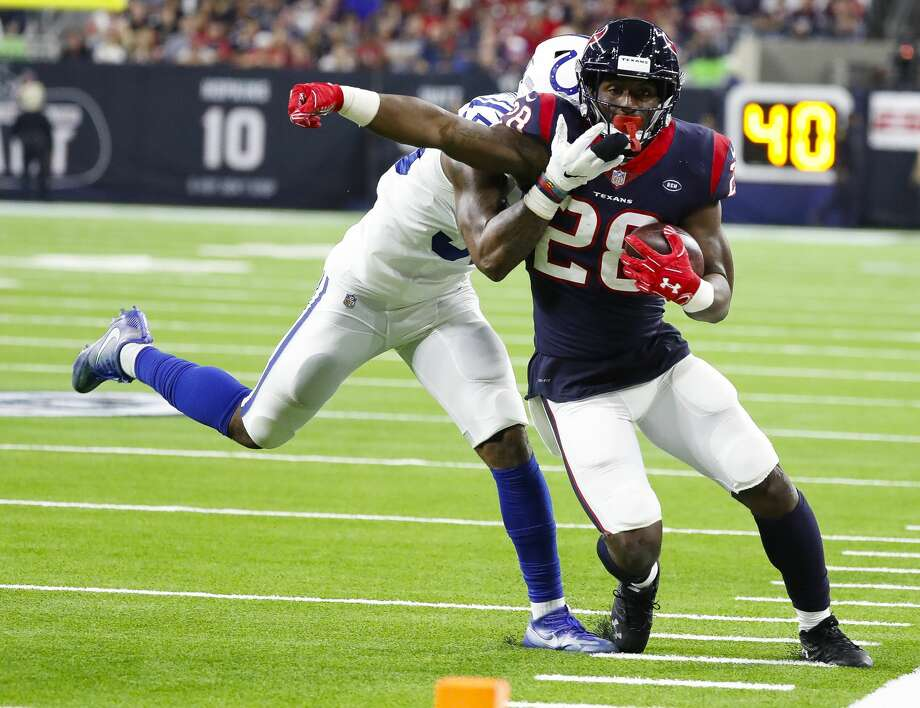 PHOTOS: Contract situation for each Texans players in the 2019 offseason  Houston Texans running back Lamar Miller (26) is knocked out of bounds before the endzone during the fourth quarter of an NFL first round playoff game at NRG Stadium, Saturday, Jan. 5, 2019, in Houston. >>>Here's a look at contract situations for each Texans player headed into the 2019 offseason ...  Photo: Karen Warren/Staff Photographer