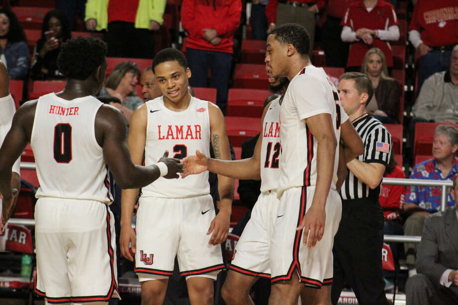 Lamar celebrates after they defeat 61-55 Texas A&M-Corpus Christi on Saturday afternoon. Photo: Meshach Sullivan  / The Enterprise