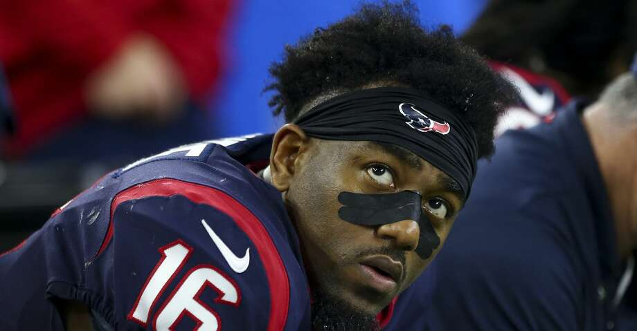 Houston Texans wide receiver Keke Coutee (16) sits on the sidelines after the offense turn the ball over on downs against the Indianapolis Colts during the fourth quarter of an NFL first round playoff game between the Houston Texans and the Indianapolis Colts at NRG Stadium Saturday, Jan. 5, 2019, in Houston. The Colts won 21-7. Photo: Godofredo A. Vasquez/Staff Photographer