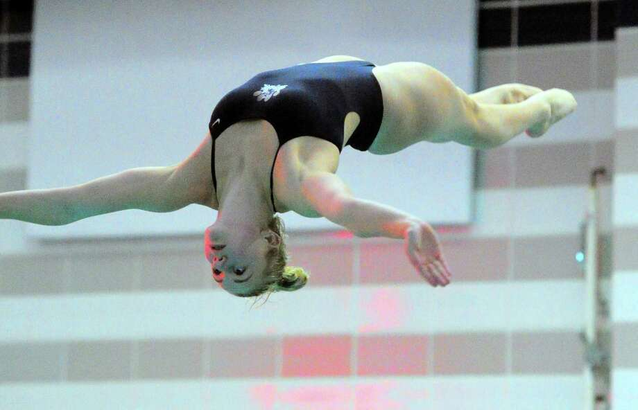 Immaculate-Bethel's Farrah Volpintesta competes during state open diving championship action at Middletown High School in Middletown, Conn., on Friday Nov. 16, 2018. Photo: Christian Abraham / Hearst Connecticut Media / Connecticut Post