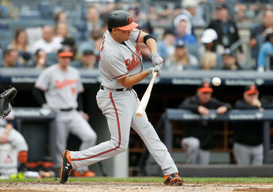 EW YORK, NY - SEPTEMBER 23: Breyvic Valera #28 of the Baltimore Orioles in action against the New York Yankees at Yankee Stadium on September 23, 2018 in the Bronx borough of New York City. The Orioles defeated the Yankees 6-3. ( Photo: Photo By Jim McIsaac/Getty Images) / Getty Images