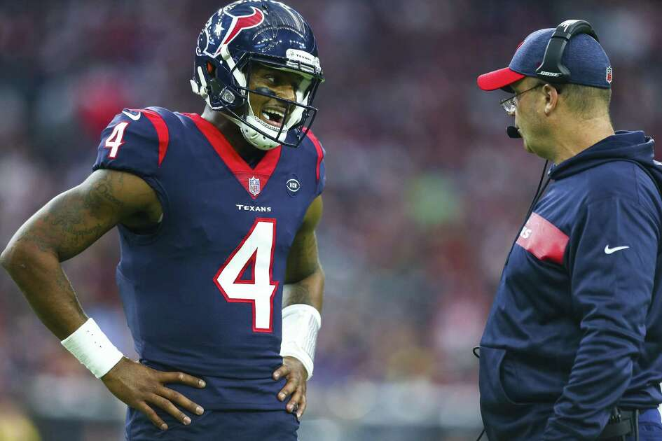Houston Texans quarterback Deshaun Watson (4) talks to Houston Texans head coach Bill O'Brien during the second quarter of an NFL first round playoff game between the Houston Texans and the Indianapolis Colts at NRG Stadium Saturday, Jan. 5, 2019, in Houston.