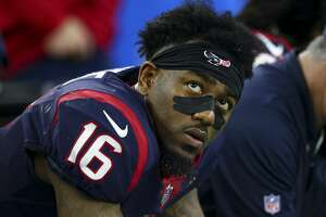 Houston Texans wide receiver Keke Coutee (16) sits on the sidelines after the offense turn the ball over on downs against the Indianapolis Colts during the fourth quarter of an NFL first round playoff game between the Houston Texans and the Indianapolis Colts at NRG Stadium Saturday, Jan. 5, 2019, in Houston. The Colts won 21-7.