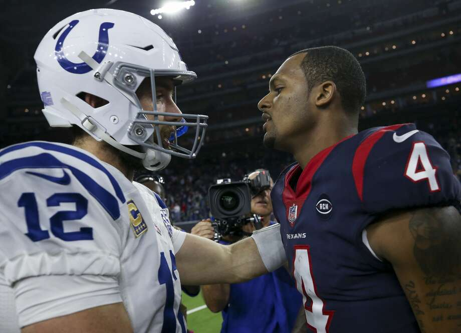 e55ad3c49d4d Indianapolis Colts quarterback Andrew Luck (12) and Houston Texans  quarterback Deshaun Watson (4