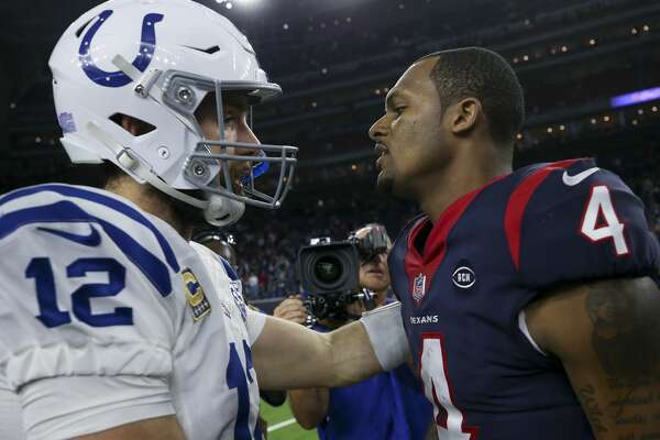 Indianapolis Colts quarterback Andrew Luck (12) and Houston Texans quarterback Deshaun Watson (4) chat after the NFL first round playoff game at NRG Stadium Saturday, Jan. 5, 2019, in Houston. The Colts won 21-7.