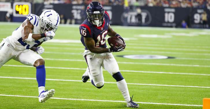 Houston Texans wide receiver Keke Coutee (16) runs towards the endzone for a touchdown during the fourth quarter of an NFL first round playoff game at NRG Stadium, Saturday, Jan. 5, 2019, in Houston.
