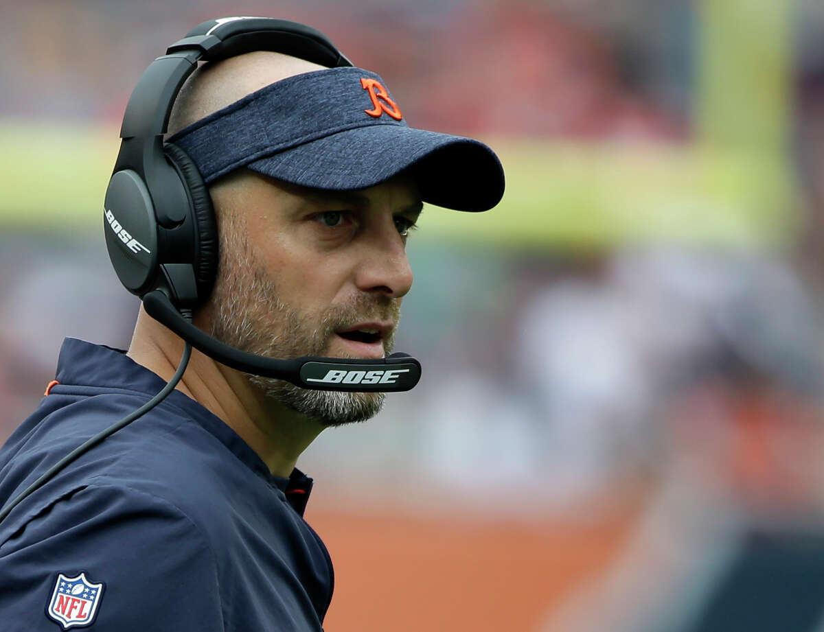 FILE - In this Aug. 25, 2018, file photo, Chicago Bears head coach Matt Nagy watches during the first half of a preseason NFL football game against the Kansas City Chiefs, in Chicago. The Chicago Bears come into the playoffs with an NFC North title after four straight last-place finishes, nine wins in 10 games and a belief that anything is possible in their first year under Matt Nagy. He already has more wins than any other rookie coach in franchise history. More important, he has made Sundays fun again in Chicago. (AP Photo/Annie Rice, File)