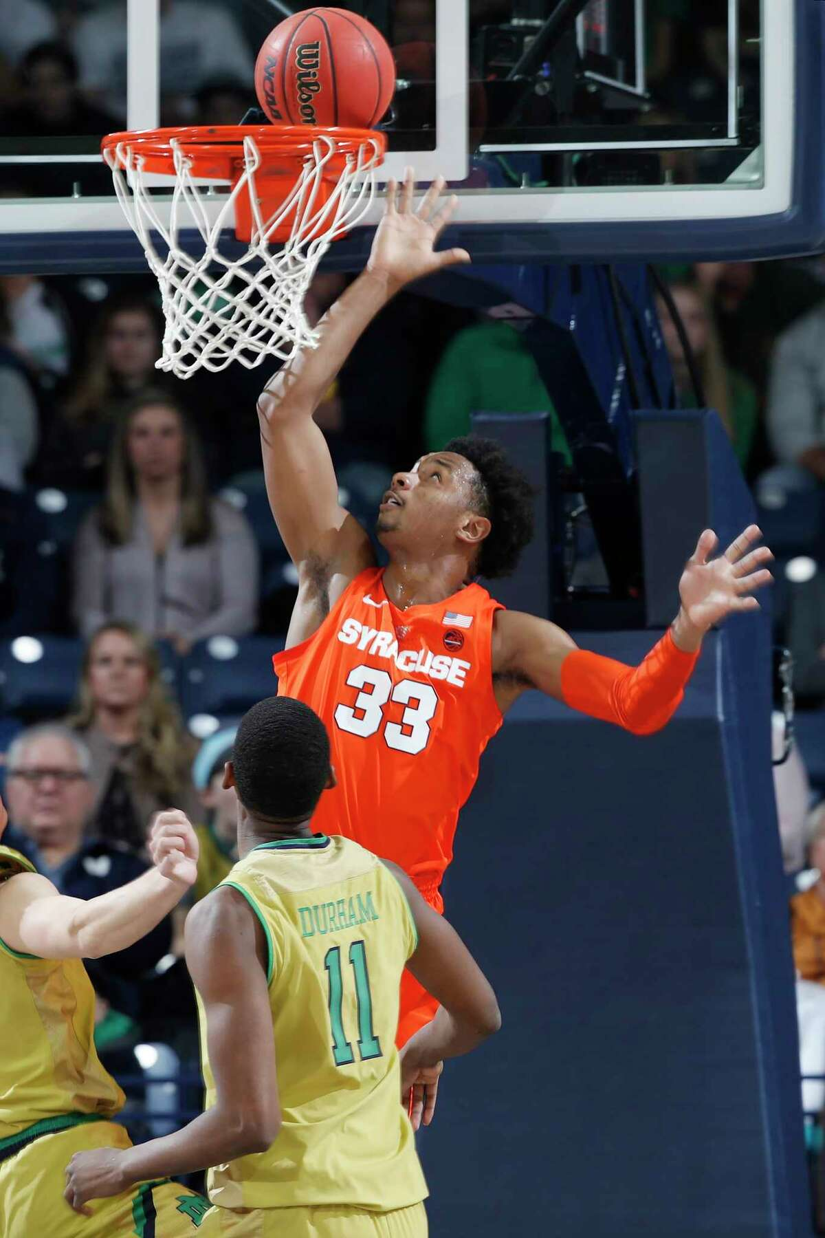 SOUTH BEND, IN - JANUARY 05: Elijah Hughes #33 of the Syracuse Orange goes to the basket against the Notre Dame Fighting Irish in the first half of the game at Purcell Pavilion on January 5, 2019 in South Bend, Indiana. Syracuse won 72-62. (Photo by Joe Robbins/Getty Images)