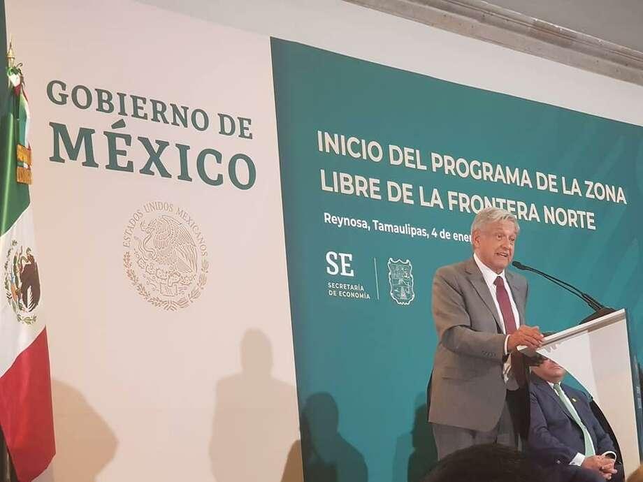 Andrés Manuel López Obrador durante una reunión en Reynosa, México, sobre el Inicio del Programa de Zona Libre para la Frontera Norte. Photo: Foto De Cortesía