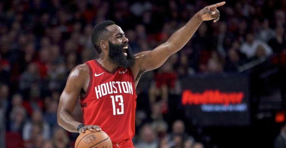 Houston Rockets guard James Harden gestures during the first half of an NBA basketball game against the Portland Trail Blazers in Portland, Ore., Saturday, Jan. 5, 2019. (AP Photo/Craig Mitchelldyer) Photo: Craig Mitchelldyer/Associated Press