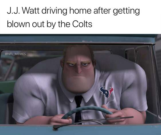 Houston Texans Playoffs, Round 1: Colts 21, Texans 7 A season of high hopes ended abruptly with an ugly home playoff loss to Indianapolis. Photo: Facebook NFL Memes