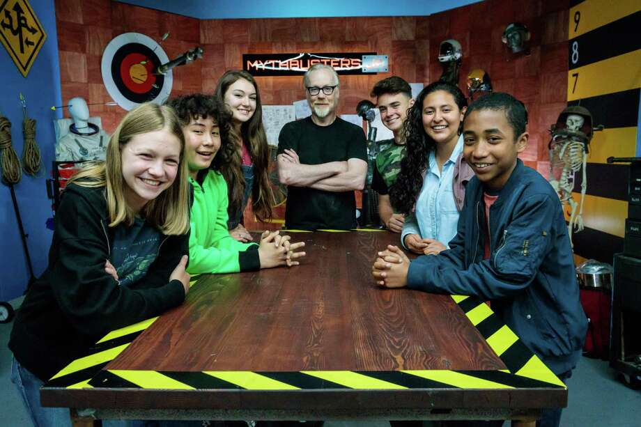 """Adam Savage, co-host of the original series, with cast of """"MythBusters Jr."""" spinoff. From left, Allie Weber, Elijah Horland, Rachel Pizzolato, Jesse Lawless, Valerie Castillo and Cannan Huey-You. Photo: Science Channel / Science Channel"""