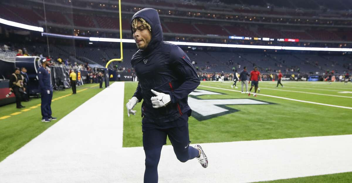 Houston Texans free safety Tyrann Mathieu runs off the field before an NFL football game against the Jacksonville Jaguars at NRG Stadium on Sunday, Dec. 30, 2018, in Houston.