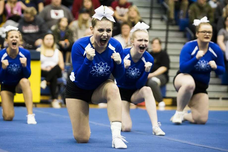 Members of the Midland High varsity cheer team compete in the Midland High Invitational on Saturday, Jan. 5, 2019 at the school. (Katy Kildee/kkildee@mdn.net) Photo: (Katy Kildee/kkildee@mdn.net)