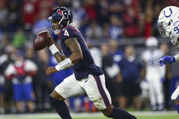 Houston Texans quarterback Deshaun Watson (4) runs the ball against the Indianapolis Colts during the fourth quarter of an NFL first round playoff game between the Houston Texans and the Indianapolis Colts at NRG Stadium Saturday, Jan. 5, 2019, in Houston. The Colts won 21-7.