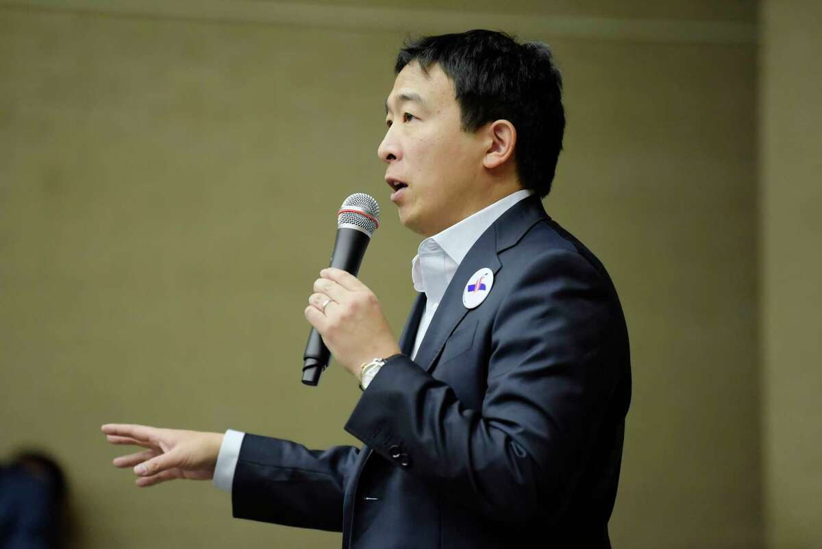 Democratic presidential candidate Andrew Yang addresses those gathered at Shaker Junior High School on Sunday, Jan. 6, 2019, in Latham, N.Y. Yang was born in Schenectady. (Paul Buckowski/Times Union)