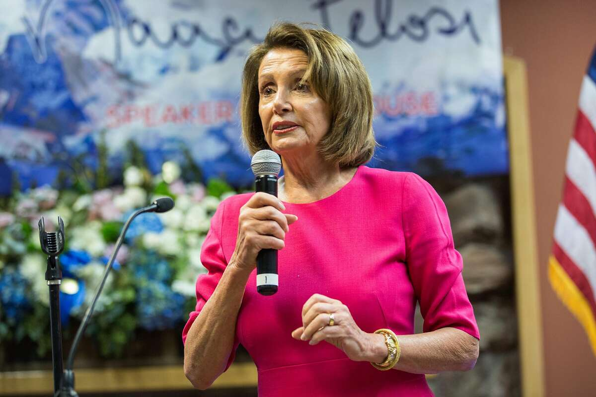 Speaker of the House of Representatives, Nancy Pelosi, speaks to her supporters during a 'Thank you' reception she held on Sunday, January 6, 2019 in San Francisco. Hundreds of students from around the Bay Area are planning to walk out of school on Friday to demand urgent action on climate change.