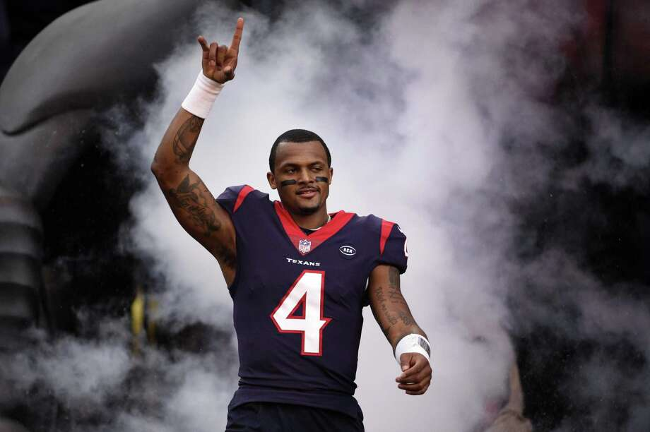 Houston Texans quarterback Deshaun Watson (4) before an NFL wild card playoff football game against the Indianapolis Colts, Saturday, Jan. 5, 2019, in Houston. (AP Photo/Eric Christian Smith) Photo: Eric Christian Smith, FRE / Associated Press / Copyright 2019 The Associated Press. All rights reserved