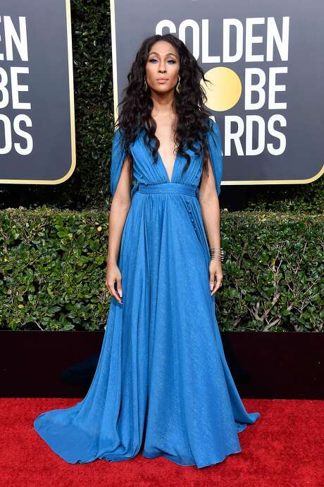 """Pose"" star Mj Rodriguez is a blue vision in a romantic gown by socially conscious designer Prabal Gurung. Photo: Frazer Harrison / Getty Images"