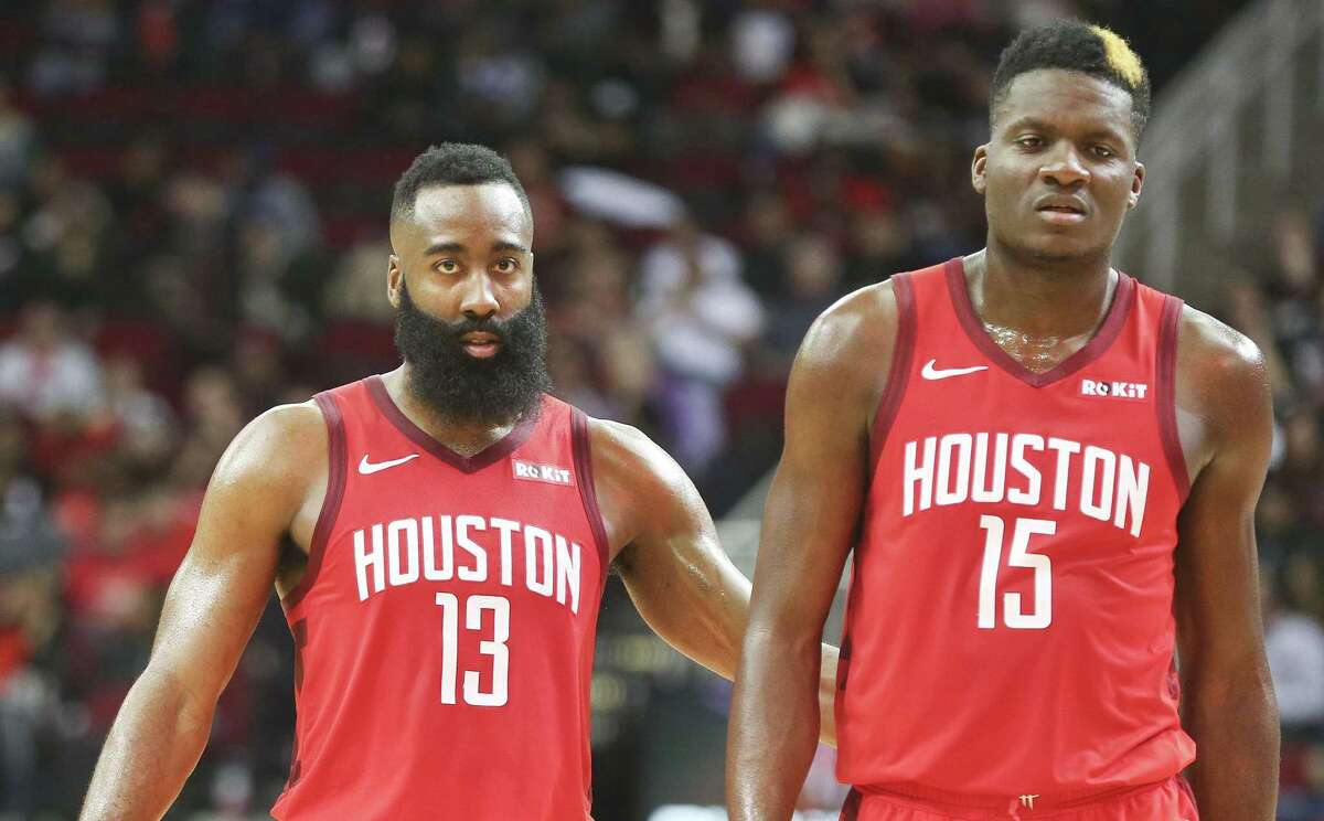 James Harden (13) and Clint Capela are two big reasons the Rockets have won 11 of their last 13 games heading into Monday night's meeting at Toyota Center with West-leading Denver.