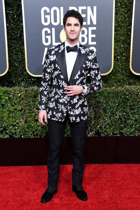 """American Crime Story"" nominee Darren Criss in full bloom in a floral dinner jacket by Kim Jones for Dior. Photo: Frazer Harrison / Getty Images"