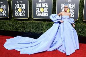 Lady Gaga wears Valentino at the 76th Annual Golden Globe Awards at The Beverly Hilton Hotel.