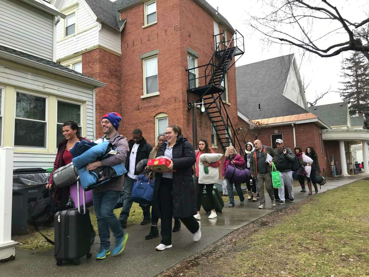 Nearly a dozen College of Saint Rose students cut their winter break short on Saturday to head to Washington, D.C., for a six-day service trip. Student?'s will work in soup kitchens and other social service agencies, as well as visit Congressional offices to advocate for those living in poverty. This is the 22nd year students have gone on the trip.